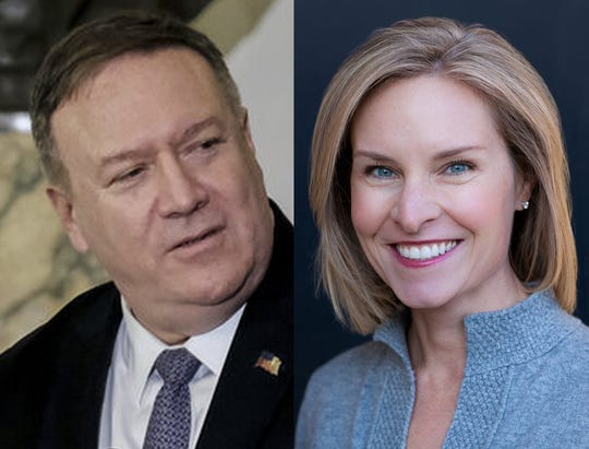 Secretary of State Michael Pompeo, left, and NPR's Mary Louise Kelly