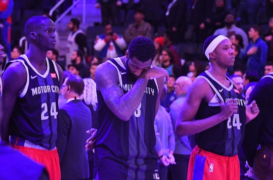 Pistons' Thon Maker, Andre Drummond and Louis King wear Nos. 8 and 24 jerseys in memory of Kobe Bryant, who wore those two numbers  while playing in the NBA.