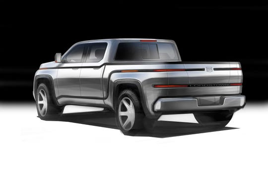 Lordstown Motors Corp. plans to show its Endurance pickup (shown here in a sketch) at the North American International Auto Show in June.