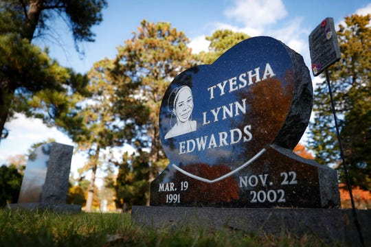 The gravestone of Tyesha Edwards, the victim of a 2002 shooting that resulted in the murder conviction Myon Burrell, rests at Washburn-McReavy Crystal Lake Funeral Chapel and Cemetery, Thursday, Oct. 24, 2019, in Minneapolis.