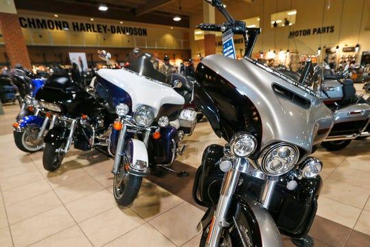 Harley Davidson motorcycles are on display at a dealership in Ashland, Va., Thursday, Oct. 17, 2019.