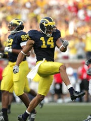 Cornerback Morgan Trent (14) played at Michigan from 2005-08