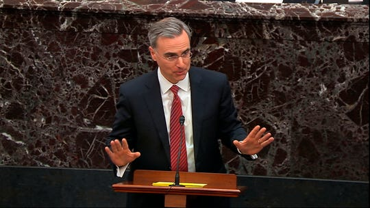 White House counsel Pat Cipollone speaks during the impeachment trial against President Donald Trump in the Senate.