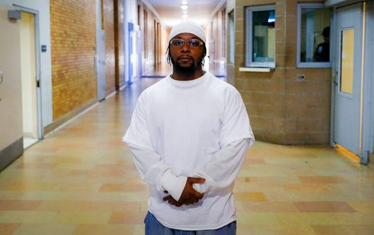 Myon Burrell, convicted in the murder of Tyesha Edwards, an 11-year-old girl pierced in the heart by a stray bullet in 2002, stands for a photograph at the Stillwater Correctional Facility, Wednesday, Oct. 23, 2019, in Stillwater, Minn.