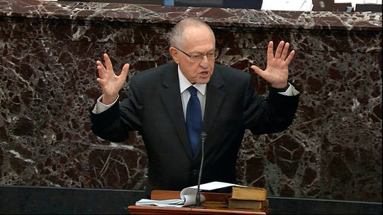 In this image from video, Alan Dershowitz, an attorney for President Donald Trump, speaks during the impeachment trial against Trump in the Senate at the U.S. Capitol in Washington, Monday, Jan. 27, 2020.