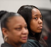 Gabrielle Brantley, right, sits with her defense attorney Lillian Diallo during her preliminary exam on alleged murder charges in front of 36th District Court Judge Ronald Giles in Detroit, Monday afternoon, Jan. 28, 2020.