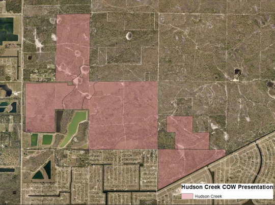 Map showing the proposed Hudson Creek community in the north end of Cape Coral. It could mean 1,330 multi-family units and 2,515 single-family homes off Jacaranda Parkway between El Dorado Boulevard and Chiquita Boulevard.