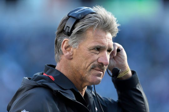 Dave Wannstedt, then the special teams coordinator for the Tampa Bay Buccaneers, walks the sidelines during a 2013 game. Wannstedt, a Naples resident, will cover Super Bowl LIV in Miami this week as an analyst for FOX Sports.
