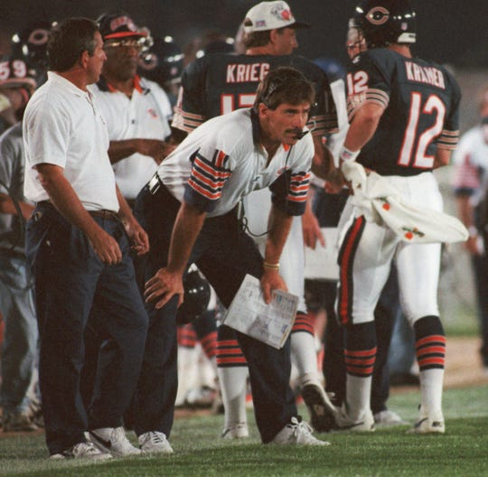 Chicago Bears coach Dave Wannstedt watches from the sidelines during a 1996 game. A Naples resident, Wannstedt now is a studio analyst for FOX Sports and will cover Super Bowl LIV this week in Miami.