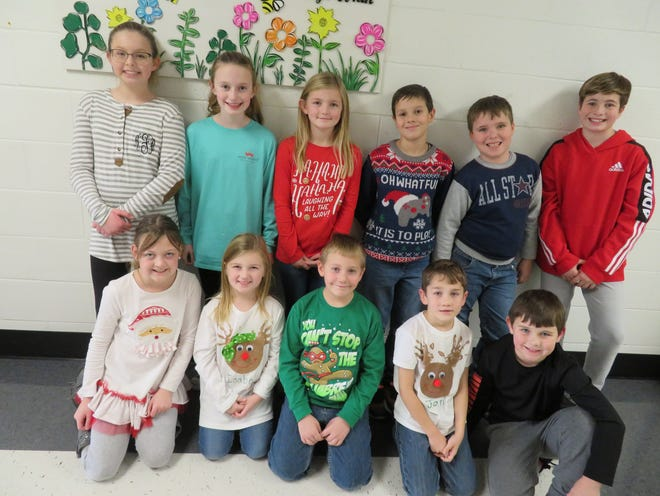 The Niagara Elementary School December Leaders of the Month are front row, from left, Marianne Stallings, Isabel Southard, Lucas Pruitt, Jon Yates, and Bentlee Oliver. Back row, from left, Kali Floyd, Lilly Shelton, Addison Mackey, Carter Moseley, Luke Beck, and Gavin Wolfe. Haven Miller, Ainsley Sellers, and Lilly Bennett are not pictured.