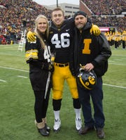 George Kittle is shown on Iowa's senior day in 2016 against Nebraska with his mom, Jan Krieger, and father, former Iowa lineman Bruce Kittle. George had two TD catches in that 40-10 Hawkeye win.