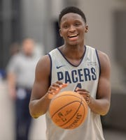 The Pacers' Victor Oladipo works out with his teammates during Tuesday's practice at the St. Vincent Center in Downtown Indianapolis, Tuesday, Jan. 28, 2020. The Pacers guard is set to return to action against the Bulls Jan. 29, his first game action since suffering a knee injury on Jan. 23, 2019.
