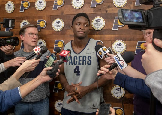 Victor Oladipo talks with media members after the day's team practice, Indianapolis, Tuesday, Jan. 28, 2020. The Pacers star is about a year post-surgery, after suffering a right quad tendon rupture.