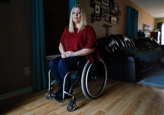 Kira Hudson, a survivor of two car crashes involving distracted driving and cellphones, at her Carmel home, Friday, Jan. 24, 2020. Hudson was paralyzed after she crashed while talking on her cellphone and driving. Years later, she was hit by another distracted driver talking on their own cellphone.