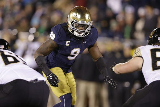 FILE -- Jaylon Smith, an Indiana Mr. Football from Fort Wayne Bishop Luers, played for Notre Dame