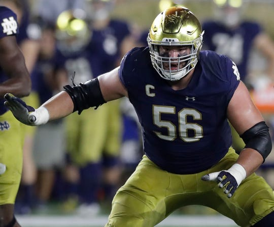 FILE -- Notre Dame offensive lineman Quenton Nelson, now with the Indianapolis Colts