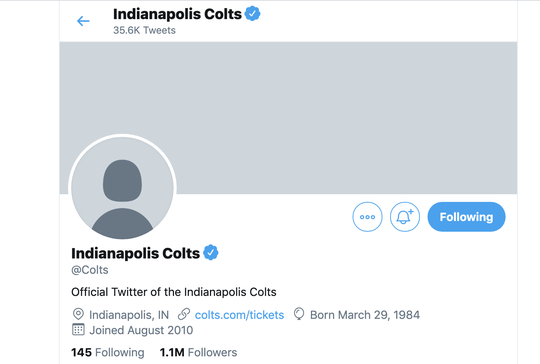 The Indianapolis Colts adjusted their Twitter account after the NFL warned of a cybersecurity attacks on Monday.