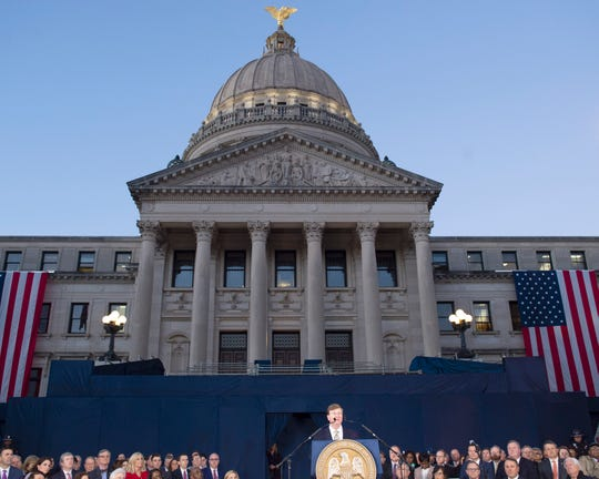 Recently inaugurated Mississippi Governor Tate Reeves delivers his first State-of-the-State address from the steps of the Capitol in Jackson, Miss. on Monday evening. Monday, Jan. 27, 2020.