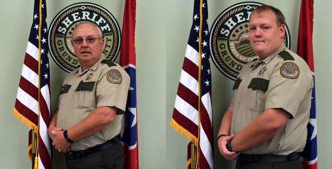 Grundy County Sheriff's Office Chief Deputy Tony Bean (left) and his son, Sgt. T.J. Bean, pose for their official sheriff's office portraits.