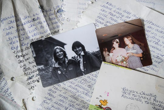 Jeanine Moneypenny and Teri Amsler, pictured in the photos, wrote letters to each other as teens in the 1970s and now co-own their own business together.