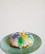 City & State coffee shop is making mini individual-sized King Cakes for Mardi Gras.