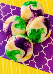Prima's Bakery & Boutique is making King Cake French macarons  for Mardi Gras this year.