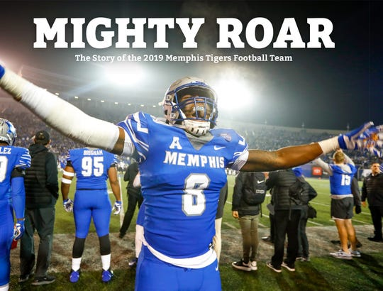 """Mighty Roar: The Story of the 2019 Memphis Tigers Football Team"" book cover."