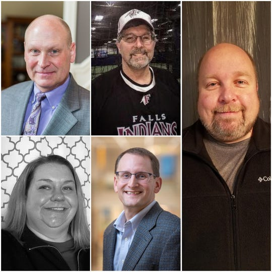 Five candidates are running for the Menomonee Falls School Board. Pictured are the candidates who will be on the primary ballot Feb. 18: (clockwise, from left) Lowell Kellogg, Robert Dekoning, Eric Pelzer, Mark Nadolski and Melinda McShane.