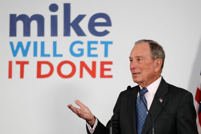 Democratic presidential candidate and former New York City Mayor Michael Bloomberg speaks to supporters at a campaign office, Monday in Scarborough, Maine.