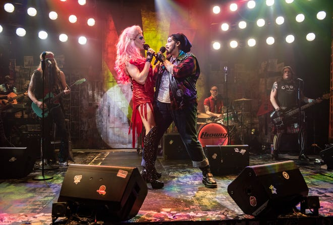 "Matt Rodin and Bethany Thomas sing in ""Hedwig and the Angry Inch,"" staged by Milwaukee Repertory Theater."