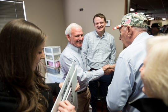 U.S. Senate candidate Bradley Byrne greets supporters at Farmers Market Cafe in Montgomery, Ala., on Tuesday, Jan. 28, 2020.