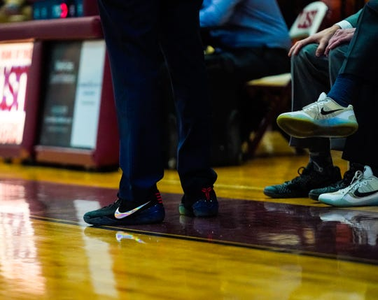 CPA's boys basketball coaching staff wore Kobe Bryant shoes for the Lions' game with USN on Monday, Jan. 27, 2019. The NBA legend died in a helicopter crash the day before.