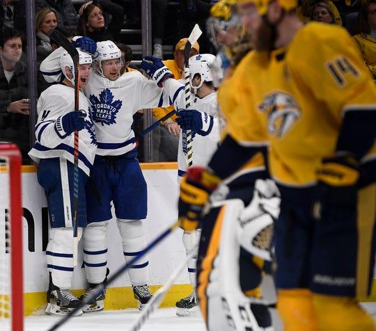 Toronto Maple Leafs celebrate a goal against the Nashville Predators during the second period at Bridgestone Arena Monday, Jan. 27, 2020 in Nashville, Tenn.