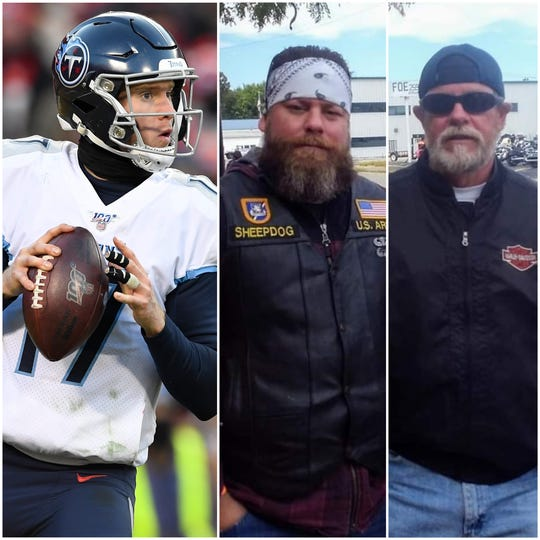 Titans quarterback Ryan Tannehill is taking Clarksville Army veteran Dustin Maxfield, center, and his father, U.S. Air Force veteran Rodney Maxfield, to Super Bowl LIV.