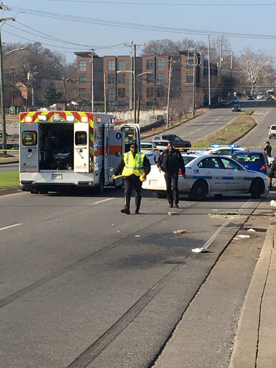 One person died after being struck by a vehicle near the Kroger in the Germantown neighborhood of Nashville on Tuesday afternoon, Jan. 28, 2019.