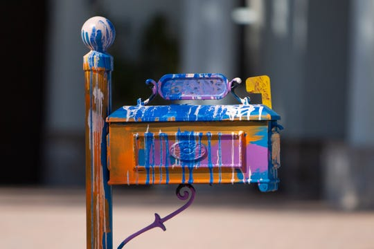 The mail box for a home located at  6913 Il Regalo Circle in North Naples is painted with bright vibrant colors as pictured on Tuesday, Jan. 28, 2020.