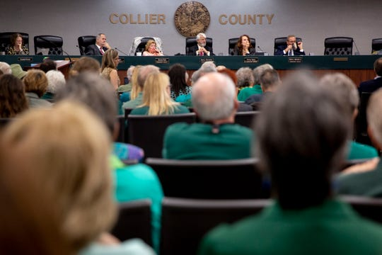 Commissioners listen to public comments about the proposed Rivergrass development during a Collier County Commission meeting on Tuesday, Jan. 28, 2020.