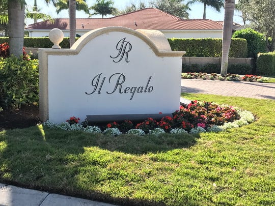 A rainbow-colored house is getting a lot of attention in the quiet, family-oriented community of Il Regalo in North Naples. The entrance sign to the gated neighborhood is pictured here as seen on Jan. 28, 2020.