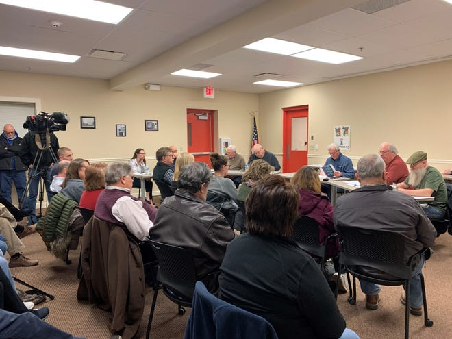 A Jan. 27, 2020 file photo shows a Refugee-Canyon Fire District special meeting at Hebron Fire Department, where a proposed agreement with Granville Township was discussed.