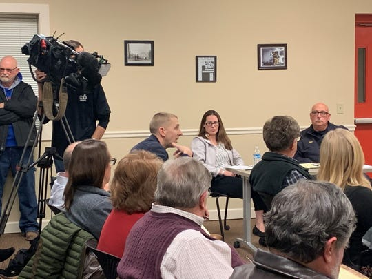 Union Township resident Mikey Bishop talks to Refugee-Canyon Fire District Trustee Tony Forshey during a special meeting on Monday, Jan. 27, 2020. At the end of the meeting, the trustees agreed to send one trustee to discuss fair compensation with Granville Township.