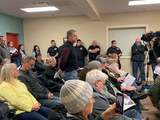 Union Township resident Ken Kerns addresses the Refugee-Canyon Fire District Board of Trustees during a special meeting at the Hebron Fire Station on Monday, Jan. 27, 2020.