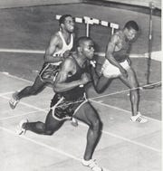 Passaic's Sam Perry, 55 years ago on this day, was the fastest man alive when at the Millrose Games he tied Bob Hayes' world record in the 60 yard dash. He ran it in 5.9 seconds.  This photo is from a UPI photo.