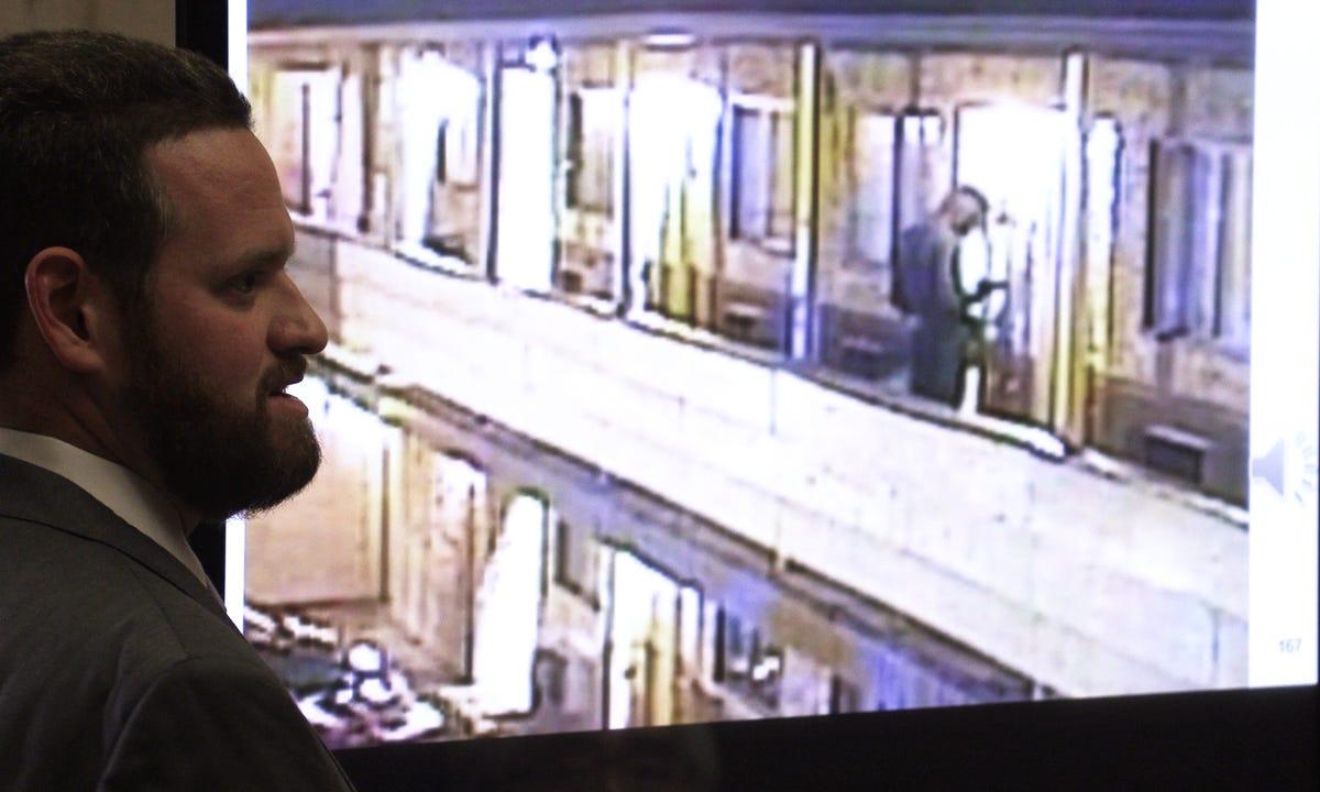 Assistant Essex County Prosecutor Adam Wells shows surveillance film of Khalil Wheeler-Weaver outside the Ritz Motel in Elizabeth. Wells spoke as the prosecution gave closing arguments in Wheeler-Weaver's trial at the Essex County Courthouse in Newark on Dec.18, 2019.