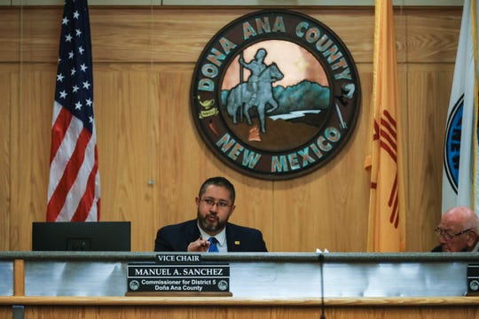 Commissioner Manuel Sanchez speaks at a Doña Ana County Commission discuss a resolution supporting a NM red flag bill in Las Cruces on Tuesday, Jan 28, 2020