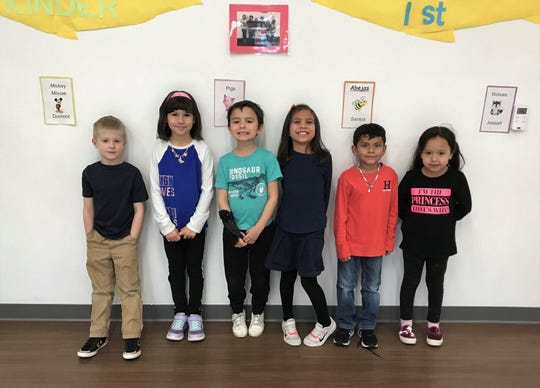 "Sierra Vista Primary school's ""Students of the Month"" for December. (from left to right) Colton Valdez,  Evangeline Clark,  Graeson Whitley, Reagan Diaz,  Jared Mondragon, and Bailey Diaz."