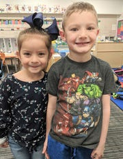 "Sierra Vista Primary school's ""Student of the Month"" for December,  Saray Munoz,  Jaxston Williams."