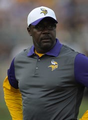 Minnesota Vikings defensive backs coach Jerry Gray during the 2015 Pro Football Hall of Fame game against the Pittsburgh Steelers on Aug. 9, 2015, at Tom Benson Hall of Fame Stadium in Canton, Ohio.