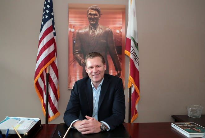 State Assemblymember Chad Mayes is photographed inside his office in Rancho Mirage, Calif., on Thursday, January 23, 2020.
