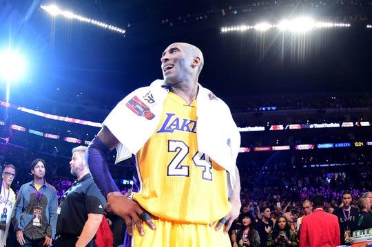 Kobe Bryant during his final NBA game on April 13, 2016.