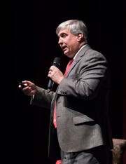 Pensacola Mayor Grover Robinson speaks Monday during CivicCon at the Saenger Theatre in downtown Pensacola.